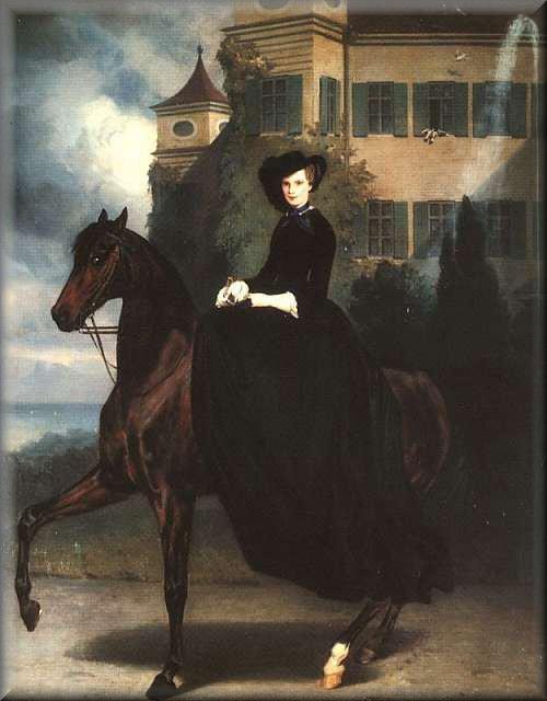 Sisi te paard voor Slot Possenhofen jpg